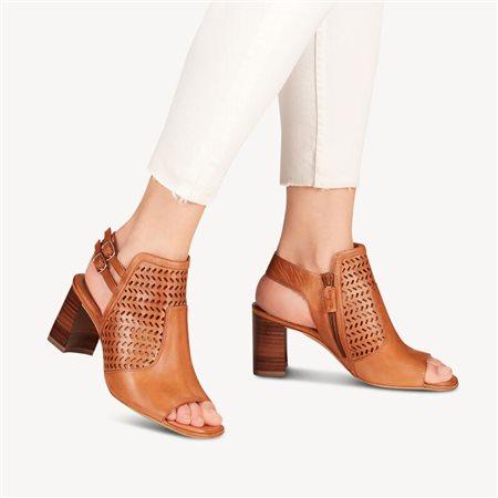 Tamaris Rockrose Leather Heeled Sandal Cognac  - Click to view a larger image
