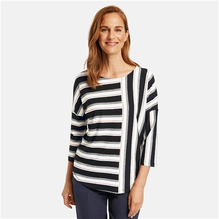Gerry Weber 3/4 Sleeve Top With Stripe Patches Black  - Click to view a larger image
