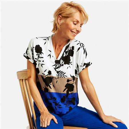 Gerry Weber Top With A Pattern Mix Blue  - Click to view a larger image