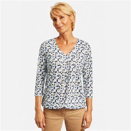 Gerry Weber 3/4 Sleeve Top With All Over Print Blue  - Click to view a larger image