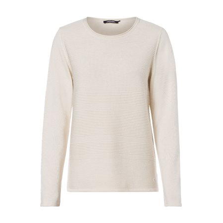 Olsen Round Neck Ribbed Jumper Ivory  - Click to view a larger image