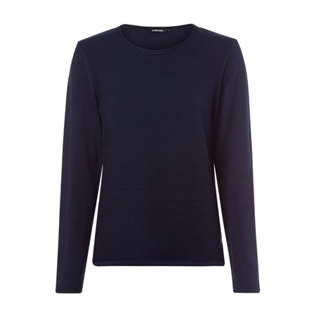 Olsen Round Neck Ribbed Jumper Navy  - Click to view a larger image