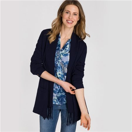 Olsen Cardigan With Fringed Shawl Collar Navy  - Click to view a larger image