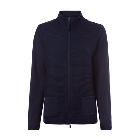 Olsen Ribbed Cardigan With Stand-Up Collar Navy  - Click to view a larger image
