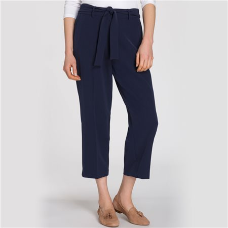 Olsen Cropped Trousers With Belt Navy  - Click to view a larger image