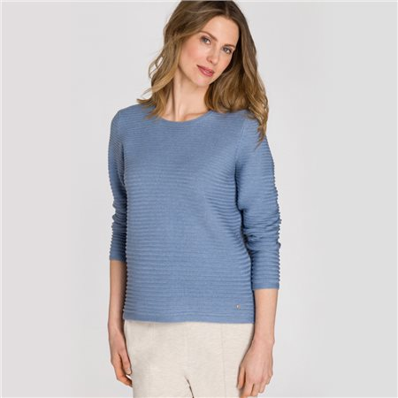 Olsen Round Neck Ribbed Jumper Blue  - Click to view a larger image
