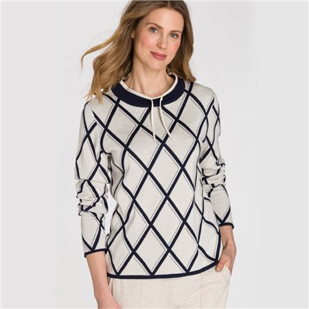 Olsen Stand-Up Collar Jumper With Diamond Pattern Beige  - Click to view a larger image