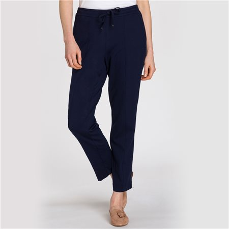 Olsen Cropped Trousers With Side Snake Stripe Navy  - Click to view a larger image
