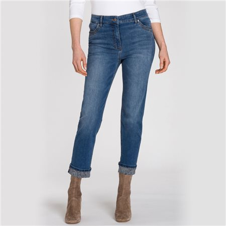Olsen Mona Cropped Jeans With Snake Print On The Folded Hem Denim Blue  - Click to view a larger image