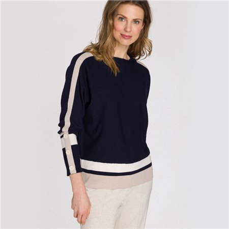 Olsen Block Stripe Jumper Navy  - Click to view a larger image