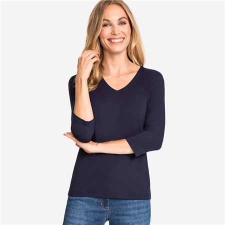 Olsen V Neck Top Navy  - Click to view a larger image