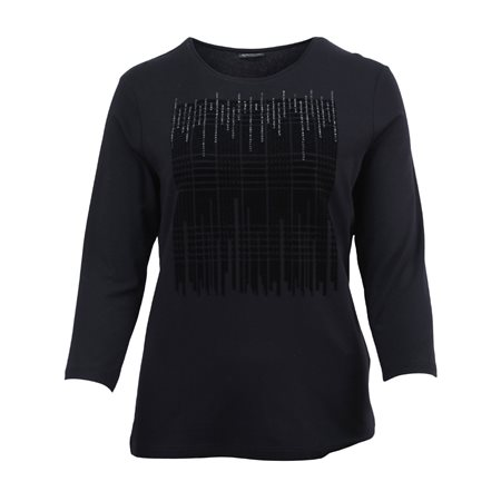 Lebek Velvet Front Top With Studs Black  - Click to view a larger image