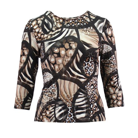 Lebek All Over Print Top Camel  - Click to view a larger image