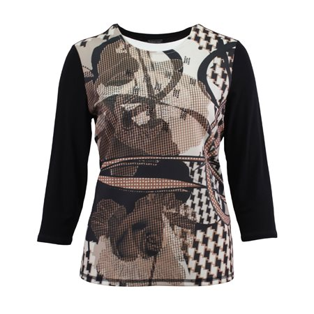 Lebek Graphic Print Top With Studs Camel  - Click to view a larger image