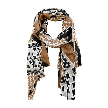 Lebek Graphic Print Scarf Camel  - Click to view a larger image