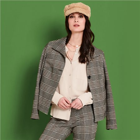 Lebek Checked Jacket Brown  - Click to view a larger image