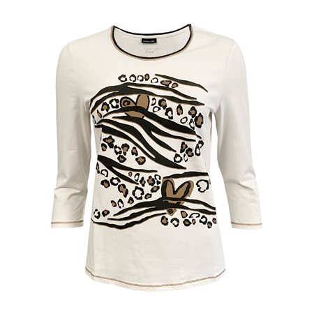 Lebek Heart Print Top Beige  - Click to view a larger image