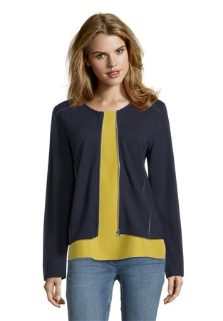Betty Barclay Textured Zip Jacket Navy  - Click to view a larger image