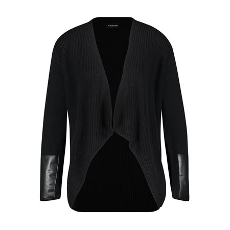 Taifun Ribbed Cardigan With Leather Look Trim Black  - Click to view a larger image
