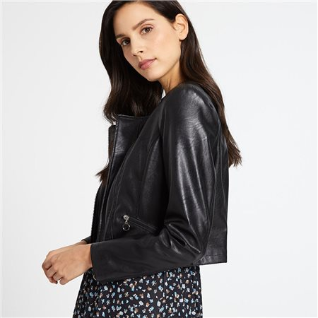 Taifun Leather Look Biker Jacket Black  - Click to view a larger image