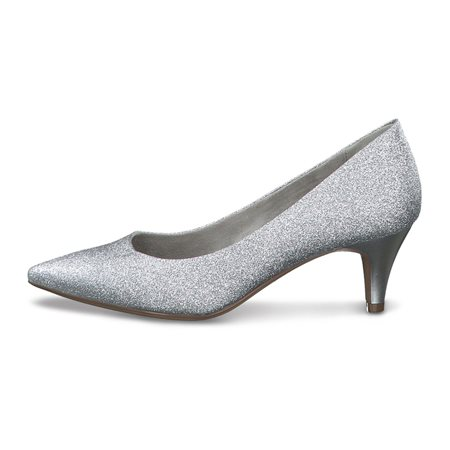 Tamaris Almaden Glitter Court Shoe Silver  - Click to view a larger image