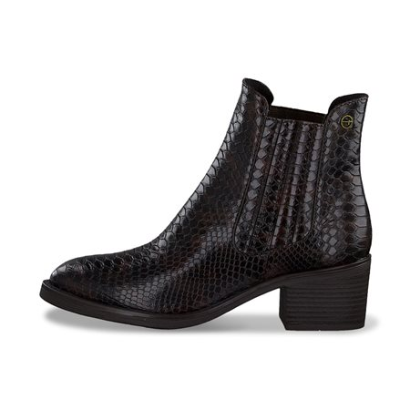 Tamaris Linea Snake Print Chelsea Boot Brown  - Click to view a larger image