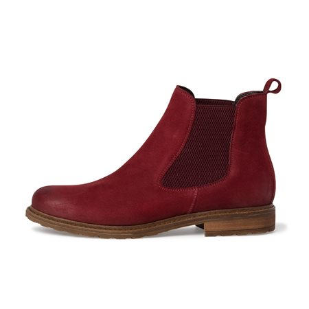 Tamaris Marchena Leather Chelsea Boot Red  - Click to view a larger image