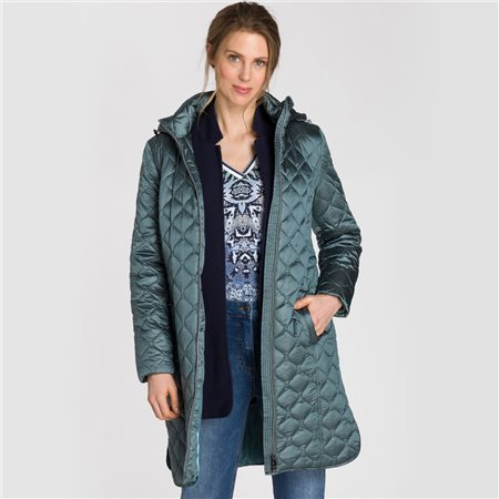 Olsen Quilted Coat With Detachable Hood Teal  - Click to view a larger image
