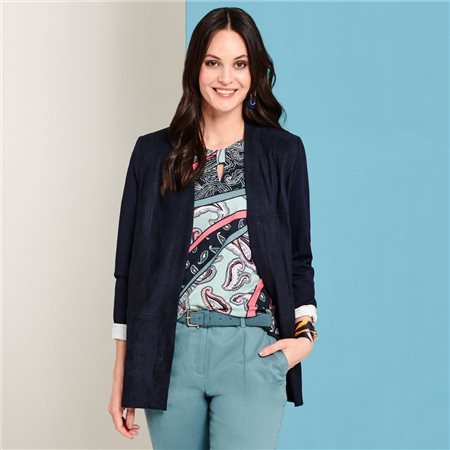 Lebek Longline Jacket With Jersey Back Navy  - Click to view a larger image