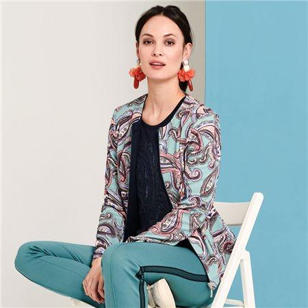 Lebek Paisley Print Jacket Aqua  - Click to view a larger image