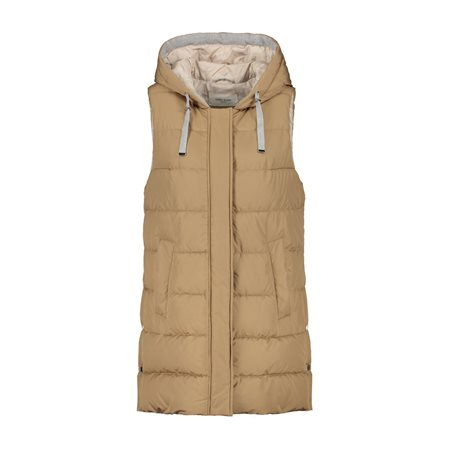 Gerry Weber Longline Gilet With Hood Beige  - Click to view a larger image