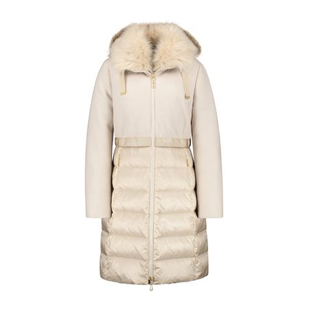 Gerry Weber Luxe Coat With Faux Fur Hood Cream  - Click to view a larger image