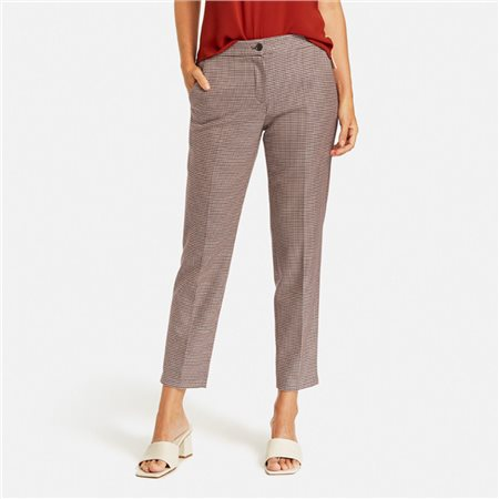 Gerry Weber Slim Fit Checked Trousers Rust  - Click to view a larger image