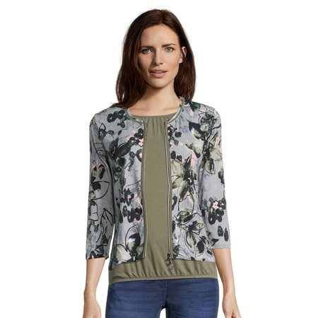 Betty Barclay Flower Print Zip Jacket Green  - Click to view a larger image