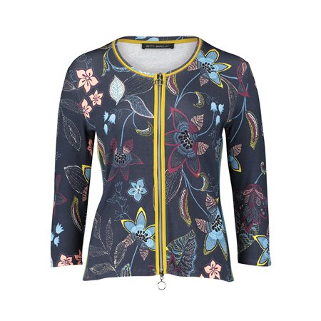 Betty Barclay Flower Print Zip Jacket Blue  - Click to view a larger image