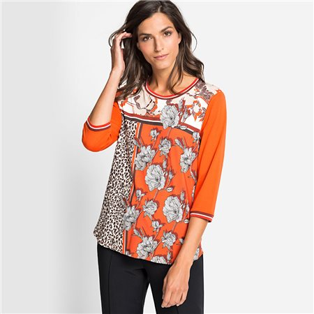 Olsen Flower & Leopard Print Top Pumpkin  - Click to view a larger image