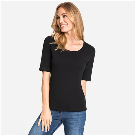 Olsen Round Neck Cotton Top Black  - Click to view a larger image