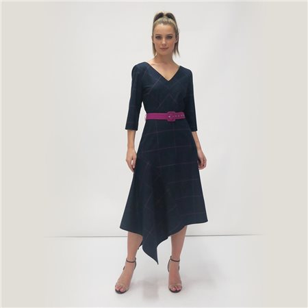 Fee G Check Print Dress With Belt Navy  - Click to view a larger image
