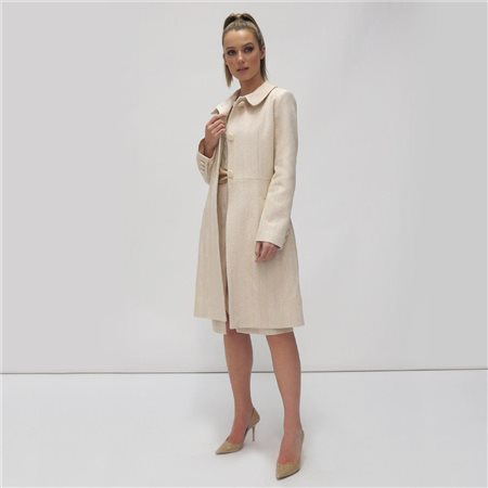 Fee G Herringbone Coat Cream  - Click to view a larger image