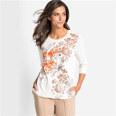 Olsen Flower Print Top Biscuit  - Click to view a larger image
