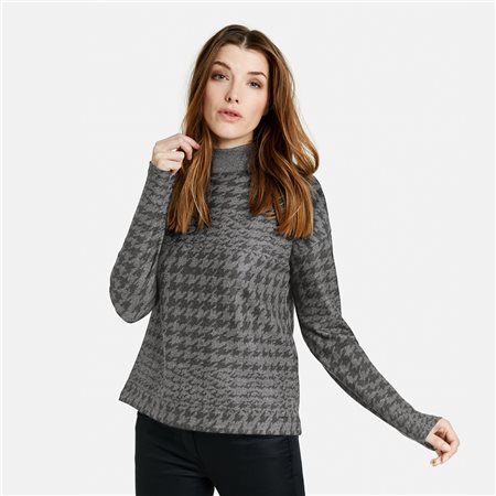 Taifun High Neck Jumper With Check Print Grey  - Click to view a larger image