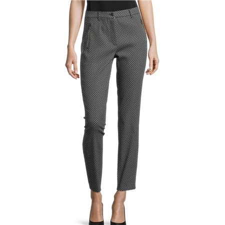 Betty Barclay Checked Trousers With Zip Navy  - Click to view a larger image