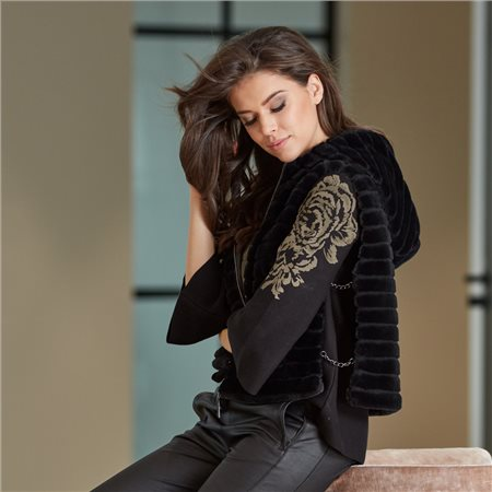 Monari Faux Fur Gilet With Hood Black  - Click to view a larger image