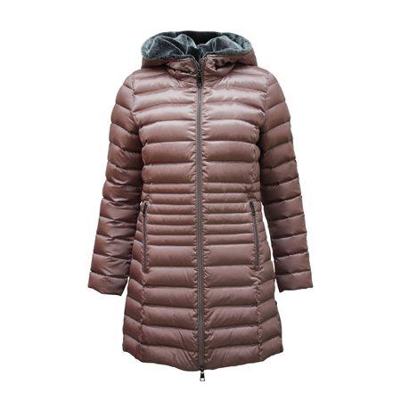 Lebek Down Coat With Faux Fur Hood Mauve  - Click to view a larger image