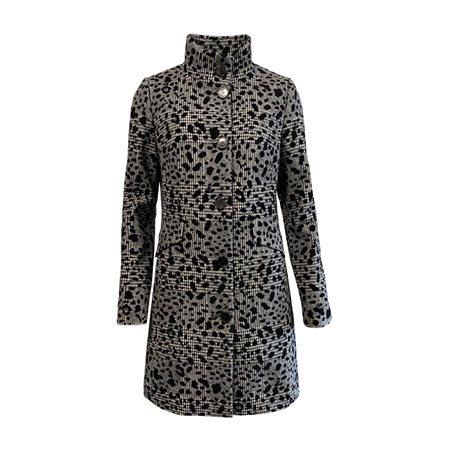 Lebek Animal Print Coat Dark Grey  - Click to view a larger image