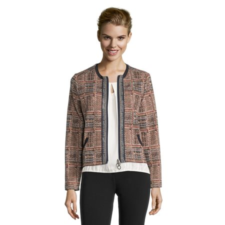 Betty Barclay Checked Zip Jacket Camel  - Click to view a larger image