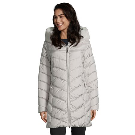 Betty Barclay Coat With Faux Fur Trim Neckline Grey  - Click to view a larger image