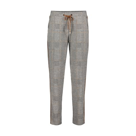 Betty & Co Pull On Checkered Trouser Black  - Click to view a larger image