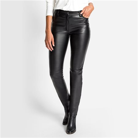Olsen Leather Look Trousers Black  - Click to view a larger image