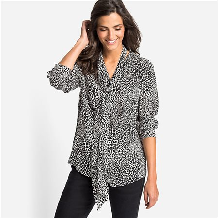 Olsen Flower Print Blouse With Tie Front Black  - Click to view a larger image